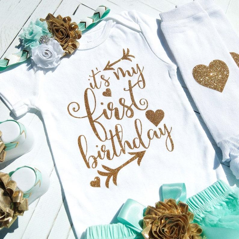 Cake Smash 1st Birthday Girl Outfit Mint Aqua Tutu Bloomer First Birthday Bodysuit Photo Prop Mint and Gold Birthday Outfit Girl Set