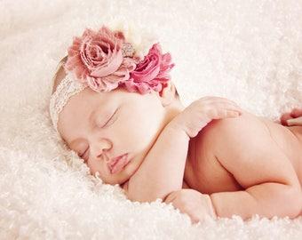 Baby Headband, Vintage Headband, Shabby Chic Rose Headband, Newborn Headband, Children's Headband, Infant Headband, Dusty Rose/Mauve/Ivory