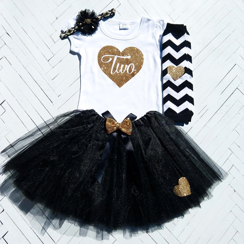 c455e67f01134 Black and Gold Birthday Outfit Girl, Toddler Party Outfit, Two, Three,  Four, Five, Six, Birthday Shirt, Tutu Set, Tutu, Headband, Leg warmer