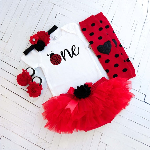 Lady Bug First Birthday Outfit Personalized Birthday Top Skirt Bloomies Baby Toddler Girl Clothes Smash Cake Outfit red black silver