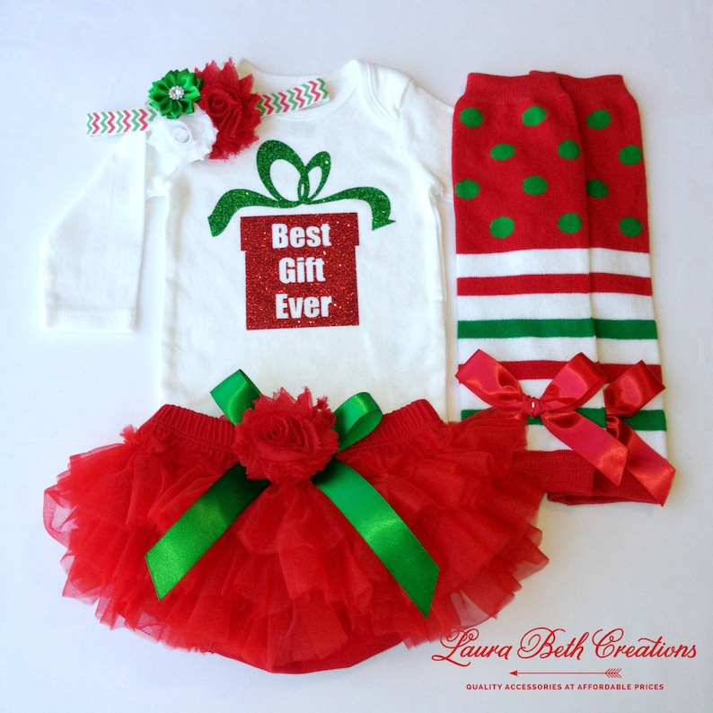 a48c13099a53 1st Christmas Outfit Best Gift Ever Baby Girl Outfit Baby