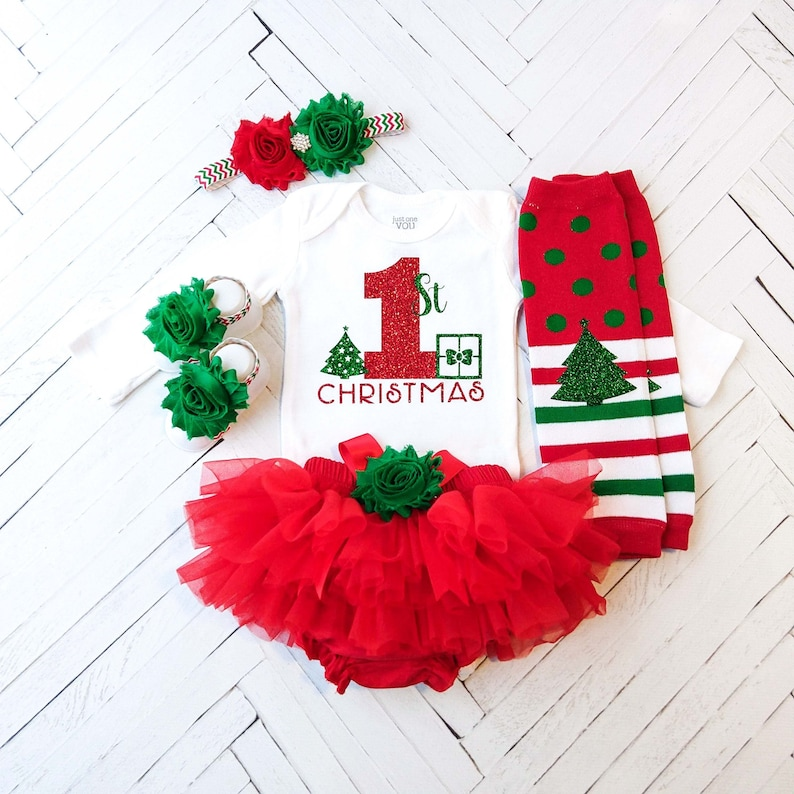 661828ac43700 Baby Girl Christmas Outfit, Red and Green First Christmas, Red Tutu  Bloomer, Christmas Infant Outfits, 1st Christmas Bodysuit, Newborn