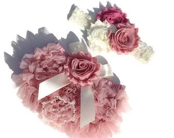 Baby Bloomer Set, Dusty Rose Chiffon Ruffle Bloomer and Headband, Photo Prop Set, Newborn Bloomer, Vintage Pink Bloomer, Ruffle Diaper Cover