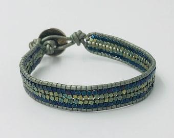 Beadwoven Herringbone Bracelet in Green and Blue by Scribblehop