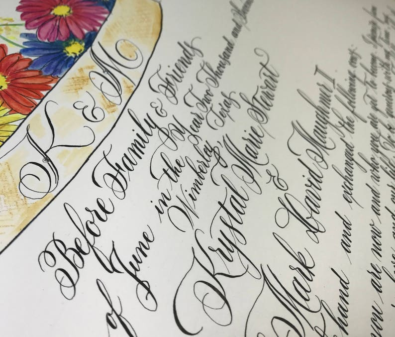 Quaker Marriage Certificate, Custom Made, Watercolor, Special, One of a  kind, Wedding book, Wedding guests