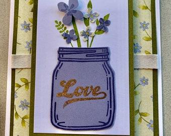 Love Mason Jar Handmade Greeting Card