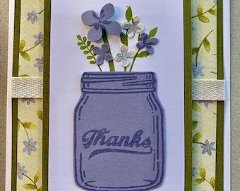 Thanks Mason Jar Handmade Greeting Card