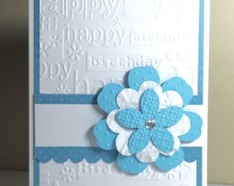 Blue and White Flower Birthday Handmade Card