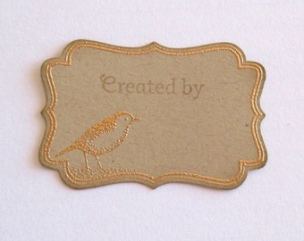 Handstamped Created By Bird Tags Labels