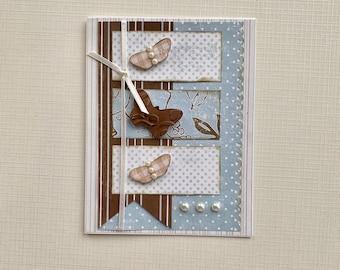 Blue Butterflies and Banners Handmade Card