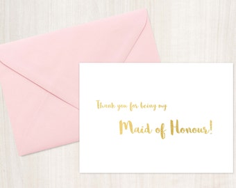 Printable Thank You Maid of Honour Card, Maid of Honour Thank You Card , Instant Download, wedding card, bridal party cards