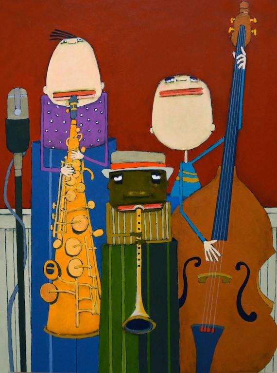 jack russell terrier jazz trio dog art print 11x14  art prints