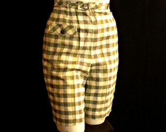 Never Worn Olive Plaid Shorts with Matching Belt