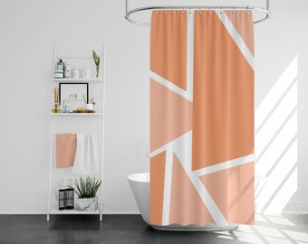 Peach And Orange Shape Shower Curtain Long Farmhouse Chic Bath