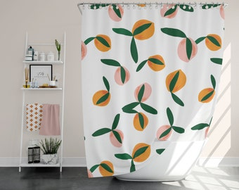 Peach Shower Curtain Fruit Bathroom Decor Long Pink And Orange