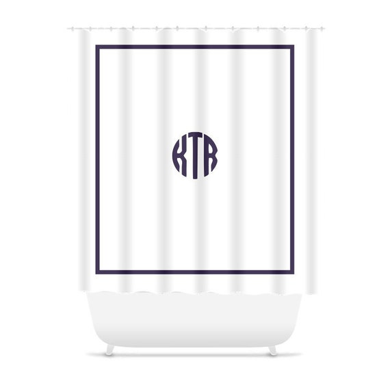 Monogrammed Shower Curtain Navy Blue