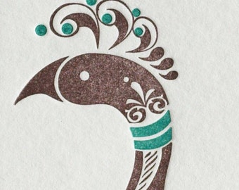 Natalie's Peacock - Letterpress Bird Notecard