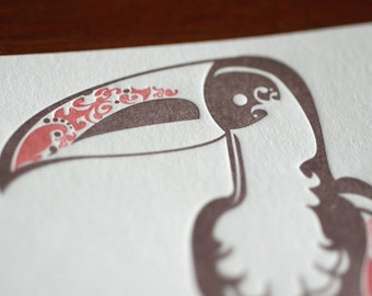 Natalie's Toucan - Letterpress Bird Notecard
