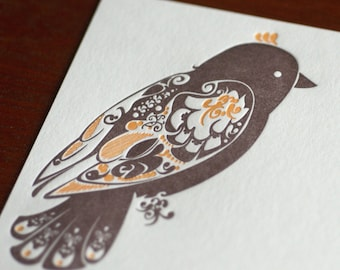 Natalie's Finch - Letterpress Bird Notecard