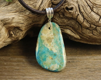 Natural Blue Peruvian Opal Necklace, Leather and Sterling Necklace