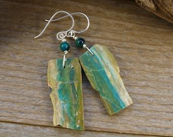 Rough Cut Peruvian Opal Dangle Earrings, October Birthstone