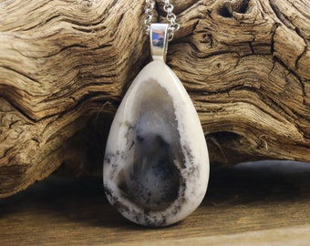 Small Dendritic Opal Necklace, Quality Natural Dendritic Opal Pendant