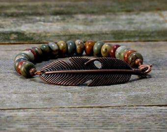 Copper and Red Creek Jasper Boho Bracelet, Boho Feather Beaded Bracelet, Gemstone Bracelet, Copper Feather Beaded Bracelet