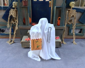 Halloween clothespin doll, ghost costume, white sheet, trick-or-treat bag, ready to ship!
