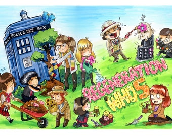 Regeneration Who 5 Doctor Who Color Print