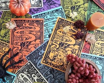 Autumn Toad Pumpkin Block Print Postcard and Card Sets