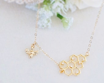 Gold Honeycomb Necklace - Honeycomb and Bee Necklace, Gold Necklace, Dainty Necklace, Meaningful Jewelry, Cute Necklace, Gift for Her