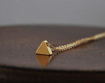 Tiny Gold Triangle Necklace/ Tiny Triangle/ Minimal Necklace/ Minimalist Jewelry/ Layering Necklace/ Tiny Charm Necklace/ Simple Necklace