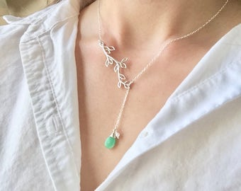 Silver Branch Jewelry Set - Adjustable Lariat Necklace, Dainty Branch Lariat, Y Necklace, Gemstone Necklace, Branch Earrings, Chrysoprase