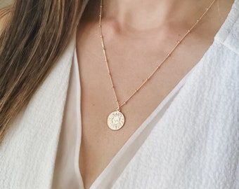 Gold Coin Necklace - Gold Sun Disc Necklace, Coin Pendant Necklace, Layering Coin Jewelry, Dainty Necklace, Coin Charm Neckla