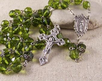 handmade Catholic rosary- olive green, silver