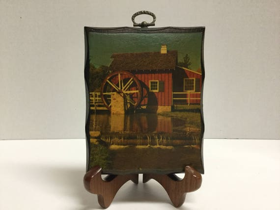 Vintage Decoupage Wood Plaque Red Barn with Water Wheel Decoupage Wood  Picture Barn Wall Hanging Wall Decor