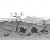 Sundowner - Namibia - 6 x 4  original ink paining