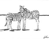 Zebra Love - Namibia - 6 x 4  original ink paining