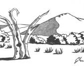 Dunes & Dead Tree - Namibia - 6 x 4  original ink paining