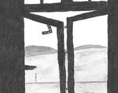 Window Outside  - Namibia - 6 x 4  original ink paining