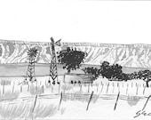 Farm With Wind Turbines  - Namibia - 6 x 4  original ink paining
