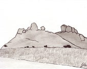 Rocky Hills  - Namibia - 6 x 4  original ink paining