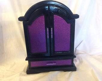 Black and Purple  Upcycled Jewelry & Trinket Box