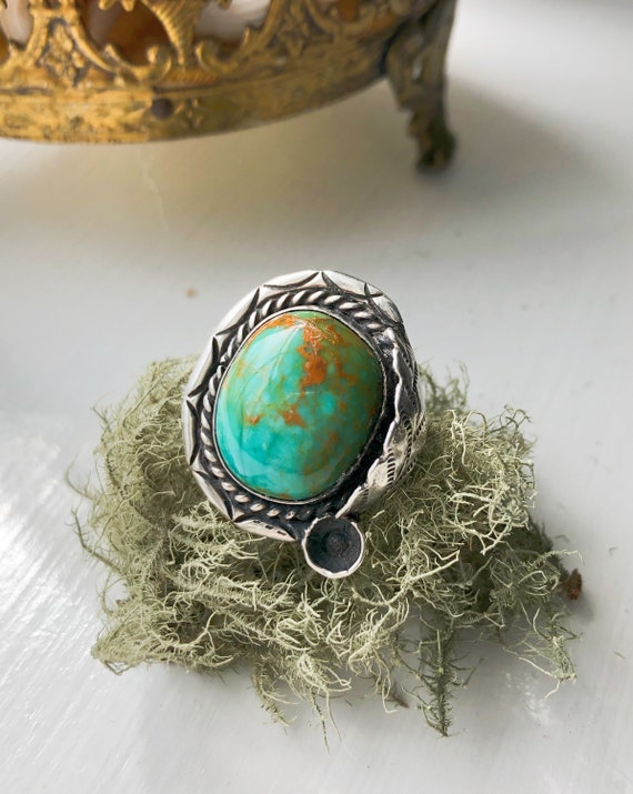 Large Vintage Navajo Sterling Natural Turquoise Sq