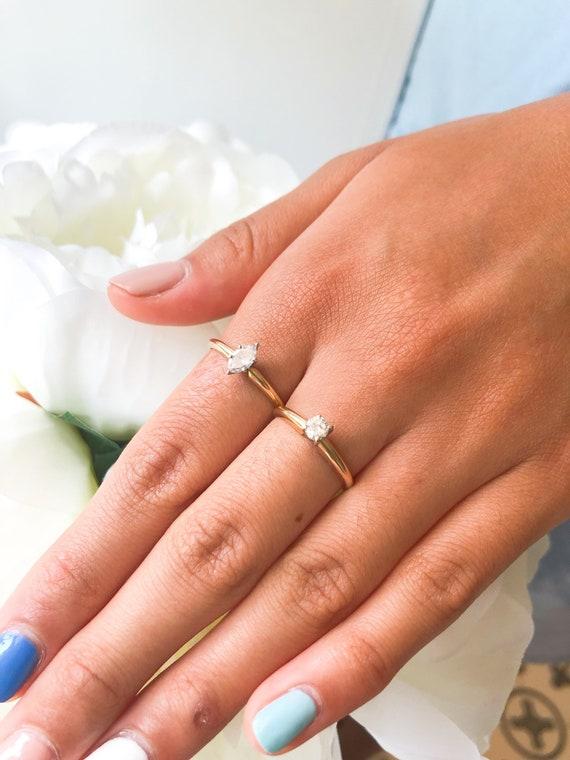 Vintage 14K Gold Solitaire Diamond Ring, Vintage … - image 7