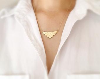 Art Deco Necklace,Chevron Necklace,Triangle Necklace,Layered Necklace,Long Gold Necklace,Arrowhead Necklace,Retro Necklace,Geometric Necklac