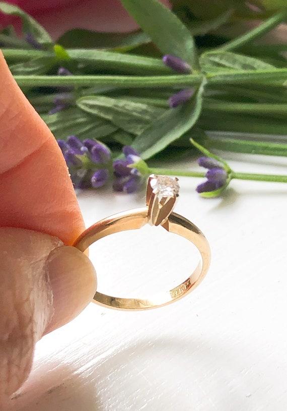 Vintage 14K Gold Solitaire Diamond Ring, Vintage … - image 4