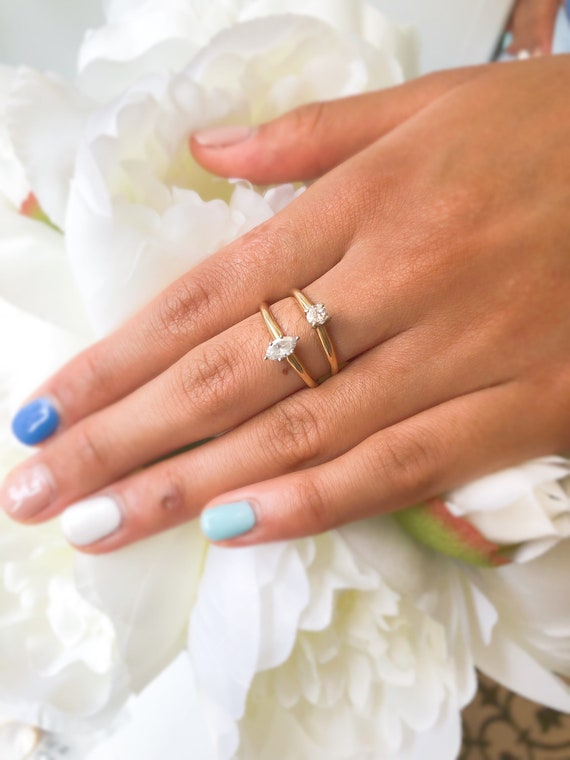 Vintage 14K Gold Solitaire Diamond Ring, Vintage … - image 5