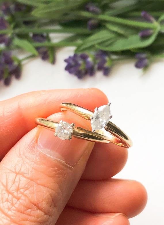 Vintage 14K Gold Solitaire Diamond Ring, Vintage D