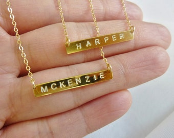 Initial Bar Necklace,Bar Initial Necklace,Personalized Bar Necklace,Name Bar Necklace,Name Plate Necklace,Gold Bar Necklace,Momentusny